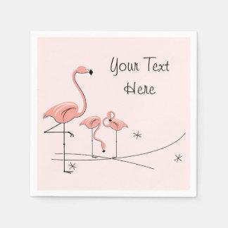 フラミンゴのピンクのトリオ4の文字の紙ナプキン スタンダードカクテルナプキン