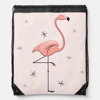 フラミンゴのピンクのドローストリングのバックパック ナップサック