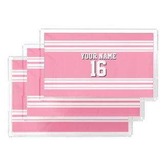 フラミンゴのピンクの白いチームジャージーカスタムな数名前 アクリルトレー