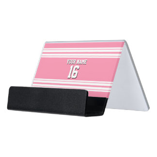 フラミンゴのピンクの白いチームジャージーカスタムな数名前 デスク名刺ホルダー