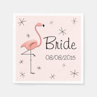 フラミンゴのピンクの花嫁および日付の紙ナプキン スタンダードカクテルナプキン
