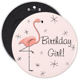 フラミンゴのピンクの「誕生日の女の子!」 ボタン 15.2CM 丸型バッジ