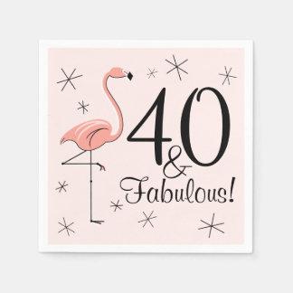 フラミンゴのピンク「40およびすばらしい!」 紙ナプキン スタンダードカクテルナプキン