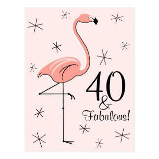 """フラミンゴのピンク""""40およびすばらしい!"""" 縦の郵便はがき ポストカード"""