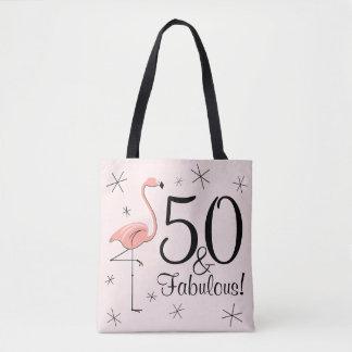 フラミンゴのピンク「50およびすばらしい!」 トートバックをくまなく トートバッグ