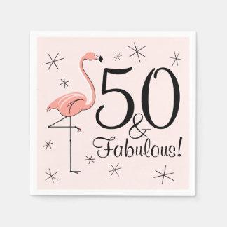 フラミンゴのピンク「50およびすばらしい!」 紙ナプキン スタンダードカクテルナプキン