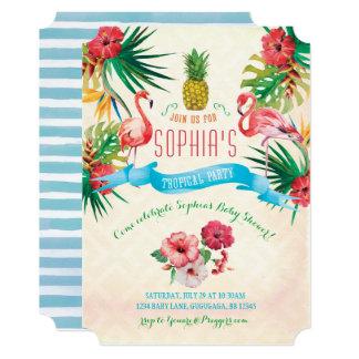 フラミンゴのベビーシャワーの招待状 カード