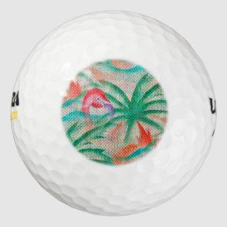 フラミンゴのヤシの木のバーラップの一見 ゴルフボール