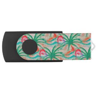 フラミンゴのヤシの木のバーラップの一見 USBフラッシュドライブ