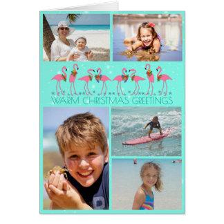 フラミンゴの写真のコラージュによって折られるクリスマス カード