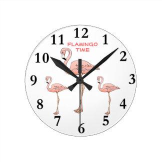 フラミンゴの時間、3羽のピンクのフラミンゴの鳥 ラウンド壁時計