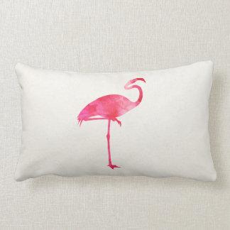 フラミンゴの水彩画のシルエットのフロリダのピンクの鳥 ランバークッション