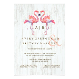 フラミンゴの水彩画の結婚式招待状 カード