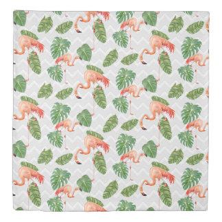 フラミンゴの熱帯葉のビーチのシェブロンのストライプな装飾 掛け布団カバー