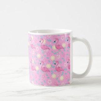 フラミンゴの花柄 コーヒーマグカップ