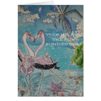 フラミンゴの踊りの挨拶状のスタイル1 カード
