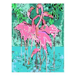 フラミンゴの鳥の郵便はがきのフラミンゴのレトロの群 ポストカード