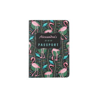 フラミンゴの鳥20s Decoのシダは黒いカスタムを模造します パスポートカバー