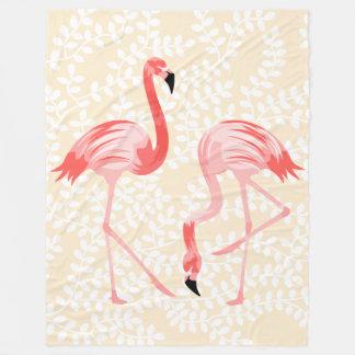 フラミンゴの鳥 フリースブランケット