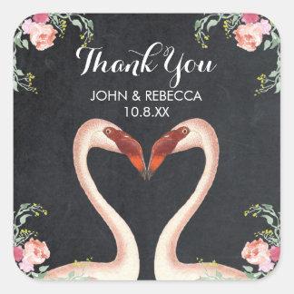 フラミンゴの黒板のありがとう好意のステッカーの結婚式 スクエアシール