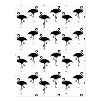 フラミンゴはパターン白黒のシルエットを描きます ポストカード
