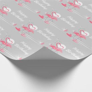 フラミンゴ愛側面のハッピーバースデーの包装紙 ラッピングペーパー