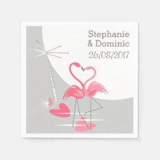 フラミンゴ愛大きい月は日付を紙ナプキンと示します スタンダードカクテルナプキン