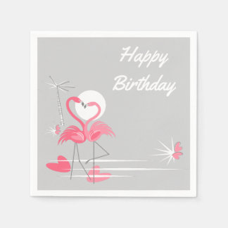 フラミンゴ愛誕生日の紙ナプキン スタンダードカクテルナプキン