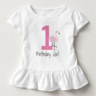 フラミンゴ数誕生日のワイシャツ(年齢を変えることができます) トドラーTシャツ