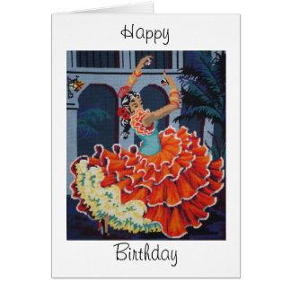 フラメンコのダンサーのハッピーバースデーカード カード