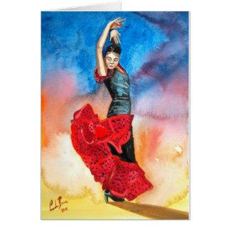 フラメンコのダンサーの水彩画 カード