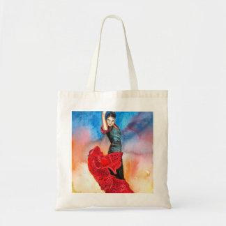 フラメンコのダンサーの水彩画 トートバッグ