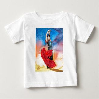フラメンコのダンサーの水彩画 ベビーTシャツ