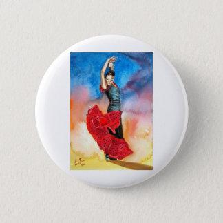 フラメンコのダンサーの水彩画 5.7CM 丸型バッジ