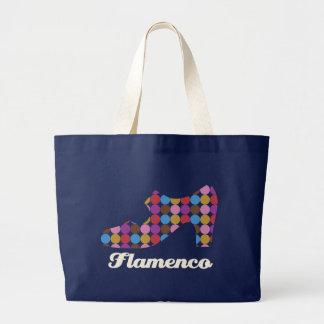 フラメンコの水玉模様の大きく暗いキャンバスのバッグ ラージトートバッグ