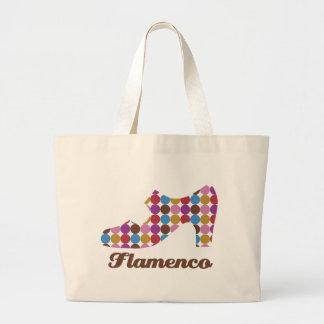 フラメンコの水玉模様の自然なキャンバスのバッグ ラージトートバッグ