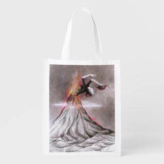 フラメンコの踊りの女性の火山超現実的な鉛筆の芸術 エコバッグ
