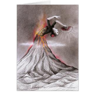 フラメンコの踊りの女性の火山超現実的な鉛筆の芸術 カード