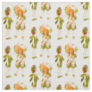 フラワーチャイルドの大げさに同情する人の花の妖精パターン ファブリック