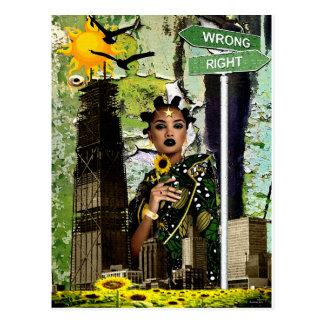 フラワーチャイルドの花型女性歌手 ポストカード