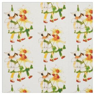 フラワーチャイルド-アネモネおよびBLUETSの花柄パターン ファブリック