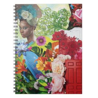 フラワーパワーのコラージュのノート ノートブック