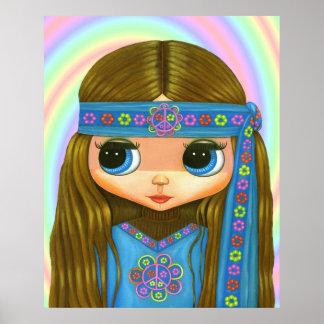 フラワーパワーのヒッピーの人形ポスター ポスター