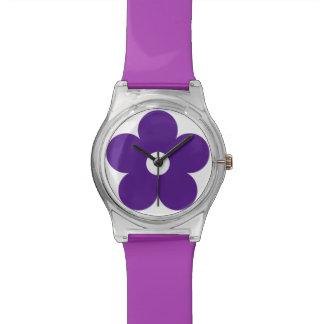 フラワーパワーの紫色のデイジーの腕時計 腕時計
