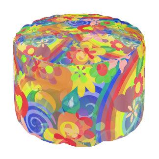 フラワーパワーの虹パターン + あなたのアイディア プーフ