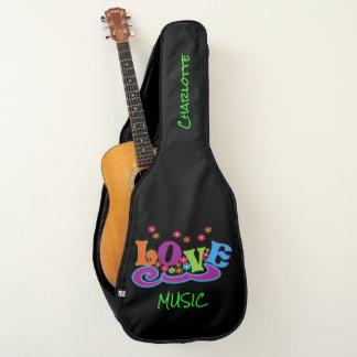 フラワーパワー愛音楽かわいく腰回りが大きな名前入り ギターケース