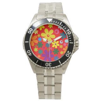 フラワーパワー(レトロの多彩な花柄)の~~ 腕時計