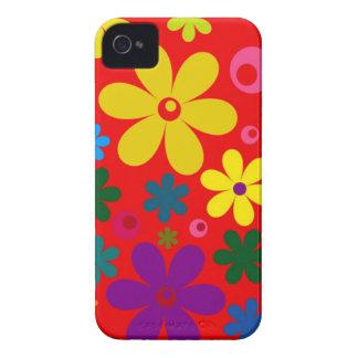フラワーパワー(レトロの多彩な花柄)の~~ Case-Mate iPhone 4 ケース