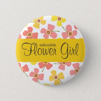 フラワー・ガールのデイジーの破裂音のピンクの結婚式の名札ボタン 5.7CM 丸型バッジ