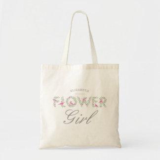 フラワー・ガールの花柄のエコバッグ トートバッグ
